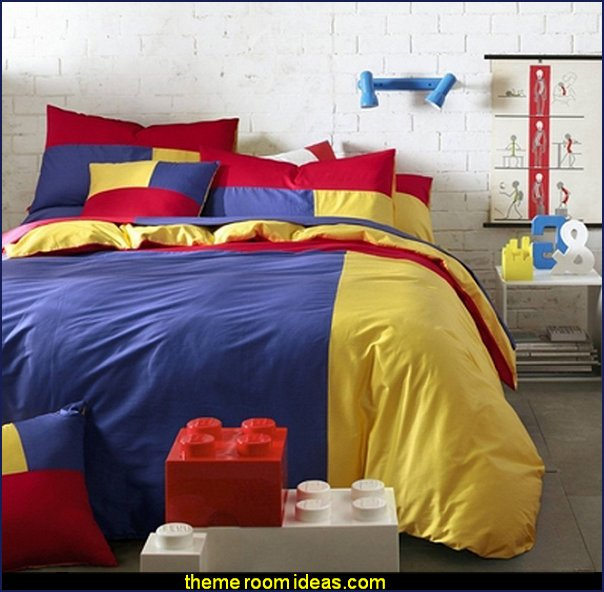 Red blue yellow blocks bedding