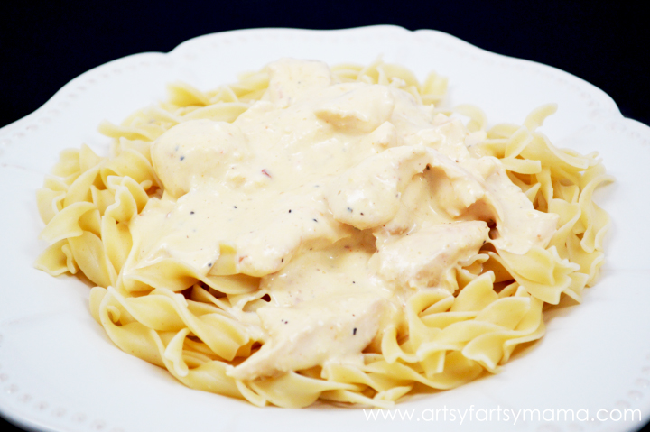Slow Cooker Italian Cream Cheese Chicken from artsyfartsymama.com #easyrecipe #chicken #slowcooker #crockpot #dinnerideas