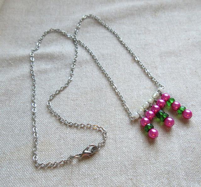 Pink green nerdy sciart mathart pi jewelry math necklace