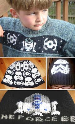 Suéter tejido con motivo de video juegos y guerra de las galaxias
