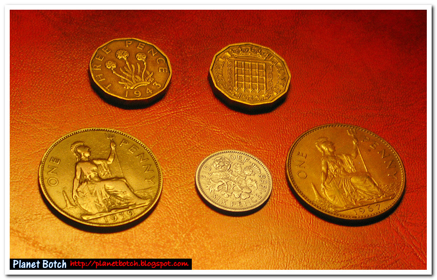 One penny piece, Sixpence and Thrupenny Bit