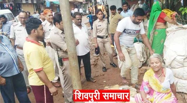 आज गांधी चौक पर गरजी थ्रीडी,वर्षो स अतिक्रमण में जमें पटवों की दुकानें हटाई | Shivpuri News