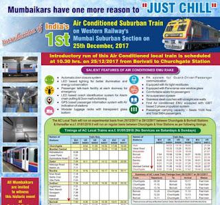 Mumbai : Fist AC Suburban Train Details