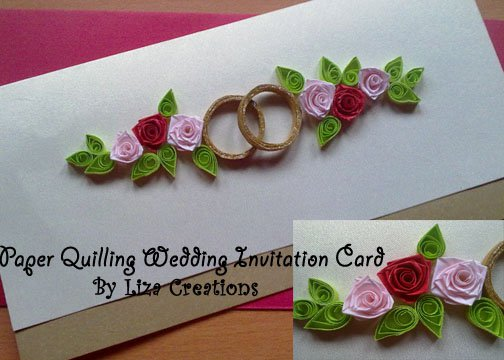 A Wedding Invitation Card By Using Paper Quilling Cards