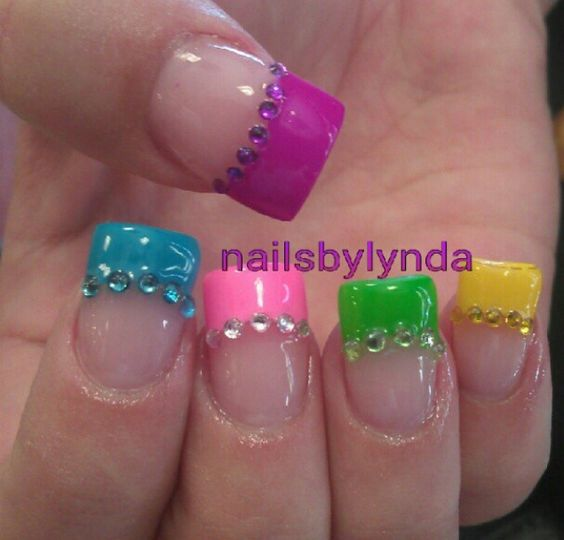 Calendarlabs June : French nail art with rainbow tips omg love beauty