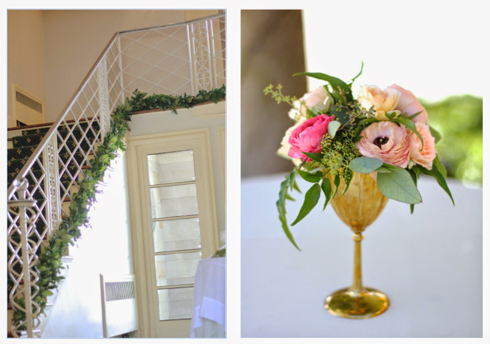 Gold Goblet Tail Table Decor Ranunculus Peach Pink Organically Textured Spray Rose Jasmine Vine Earhart Eahart Manor Wedding Sweet Pea