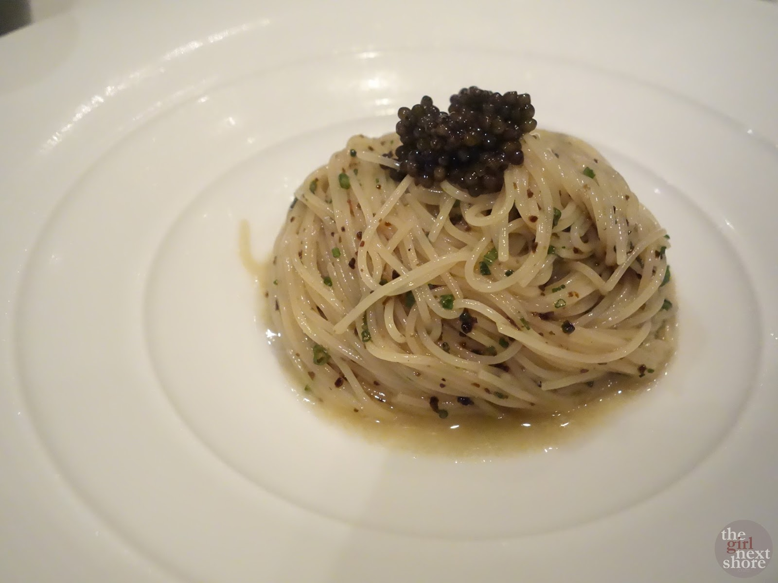 Cold Angel Hair Pasta with Caviar at Gunther's Modern French Cuisine Singapore