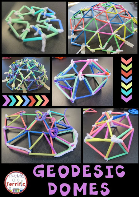 STEM Challenge: Two supplies, lots of research, lots of trial and error, lots of math, and load of fun! Building geodesic domes in the STEM Lab! Blog post includes more photos!