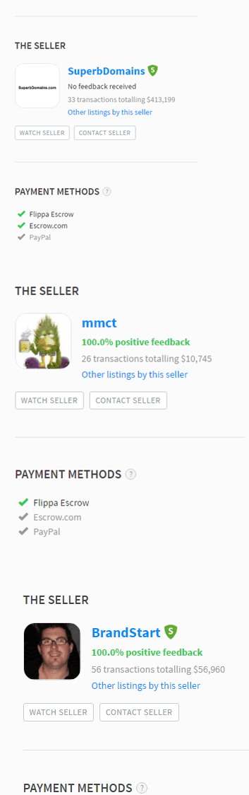 Flippa seller profile pics