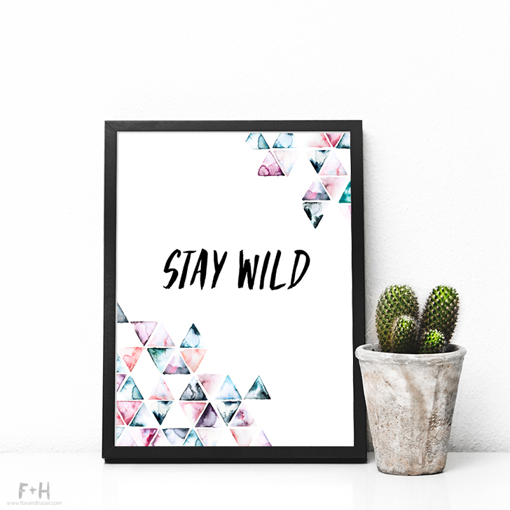 Free Triangle Watercolor Print + Cards