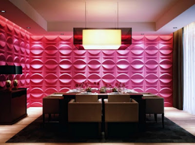 3d textured wall design in panels in pink color for living room interior