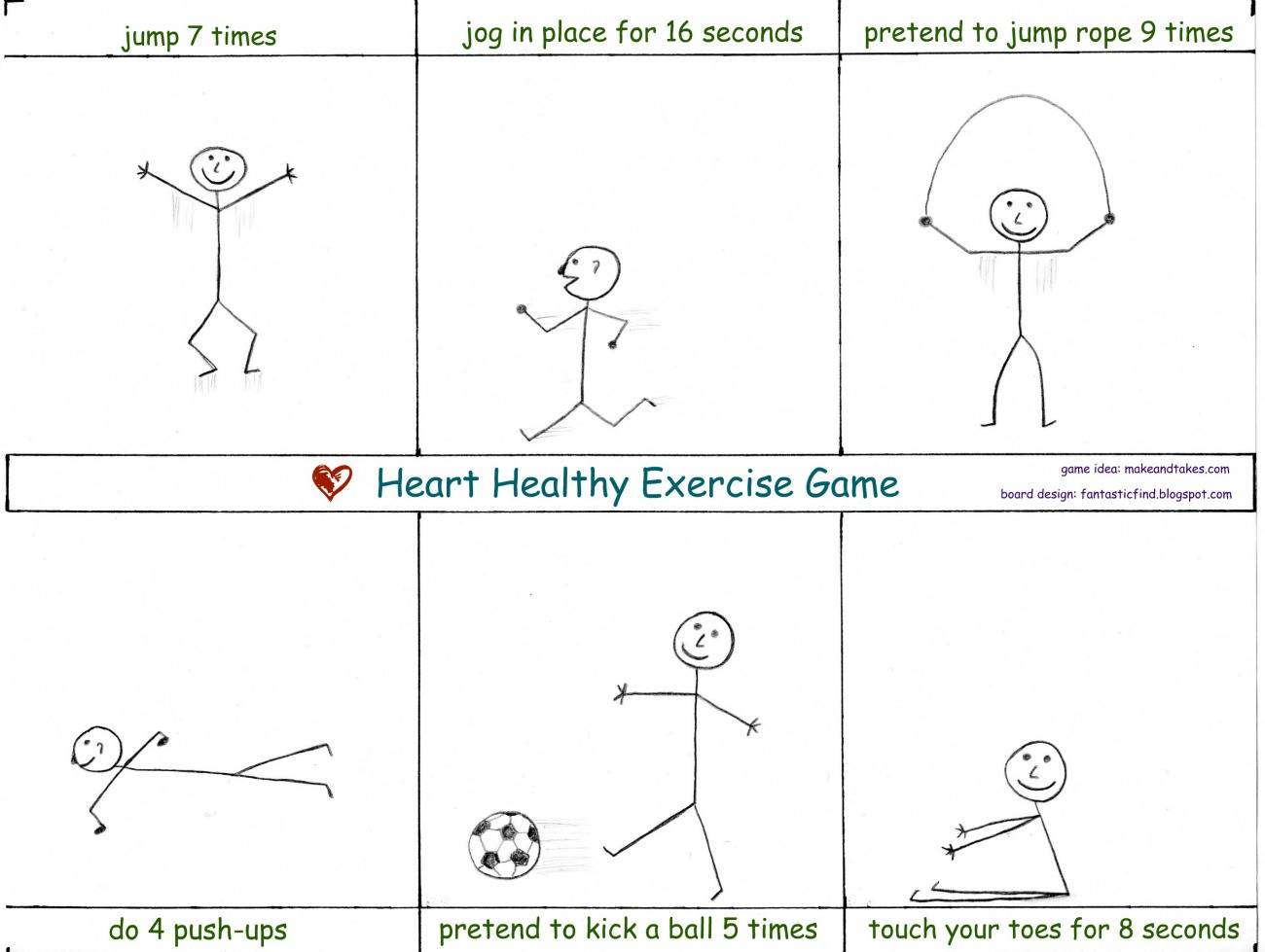 Fantastic Find Heart Healthy Exercise Game Printable