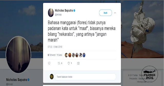 Postingan Nischolas Saputra di akun twitternya @nicsap
