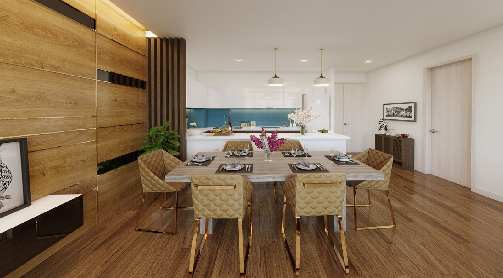 Nội thất phòng ăn chung cư Amber Minh Khai
