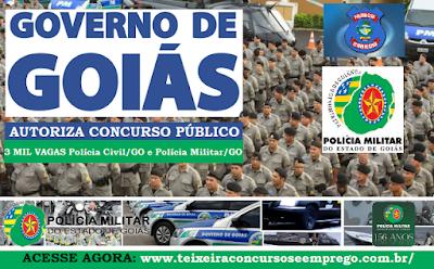 Concurso PMGO e Polícia Civil GO.