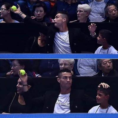 كرستيانو ينقذ امرأة من كرة التنس القوية شائعة ليس له صحة والدليل