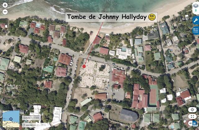 Tombe de Johnny Hallyday à Saint-Barthélémy
