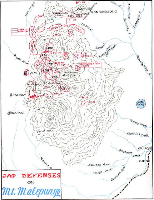 A map of Japanese defensive positions on Mt. Malepunyo.  Image source:  The Angels: A History of the 11th Airborne Division 1943-1946 by Maj. Edward M. Flanagan Jr.