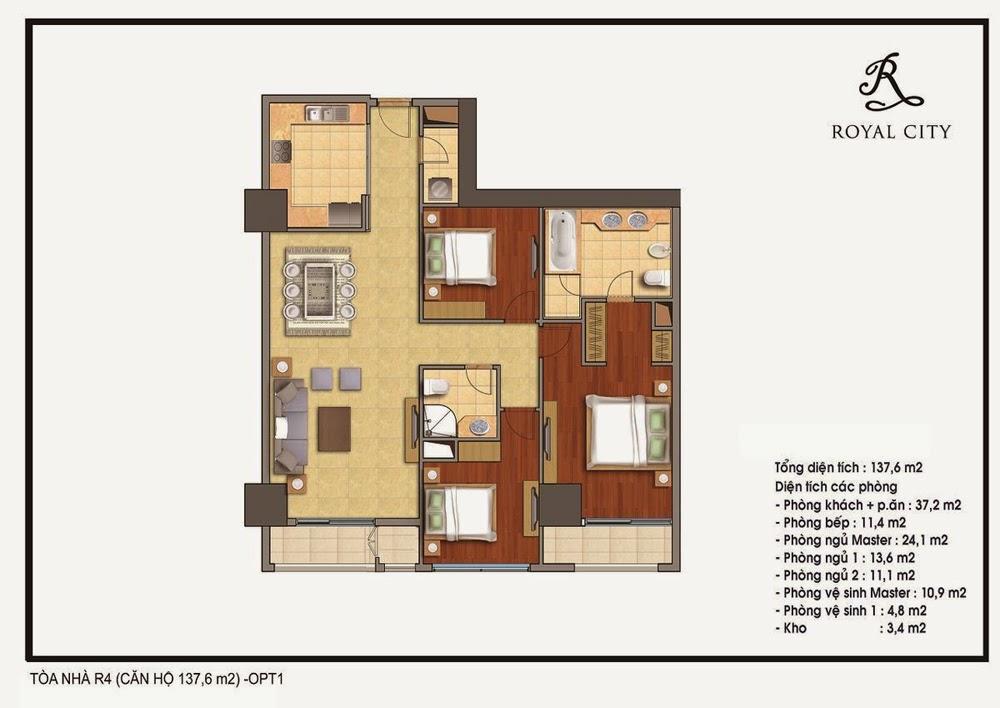 Chung cư Royal City, căn 137,6 m2