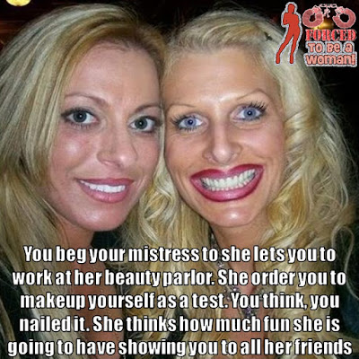 Working at mistress beauty parlor - TG Captions and more - Crossdressing and Sissy Tales and Captioned images
