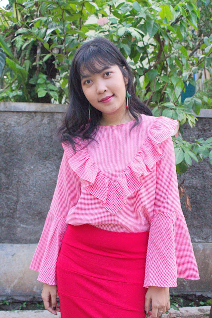 red cherry ootd