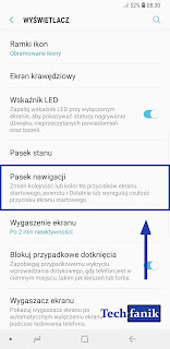 Samsung Galaxy S9+ Ustawienia Pasek Nawigacji