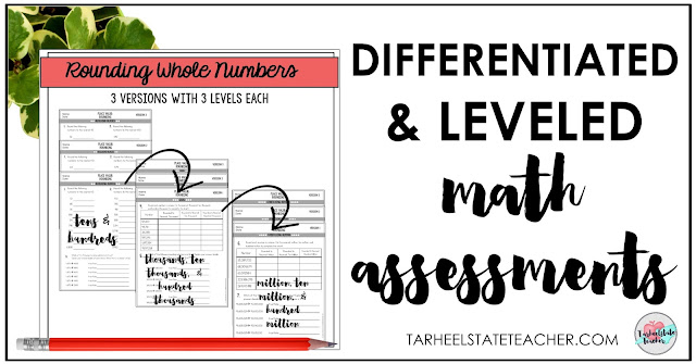 Place Value Rounding Leveled Math Assessments