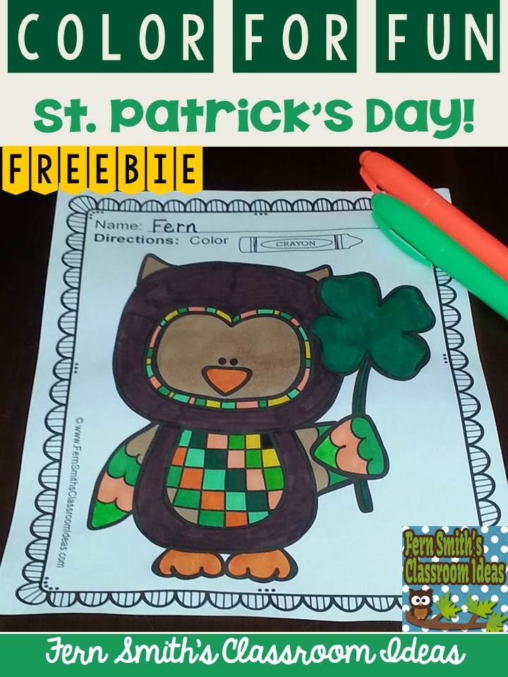 Fern Smith's Classroom Ideas Freebie Friday ~ FREE St. Patrick's Day Fun! One Color For Fun Printable Coloring Page at TPT