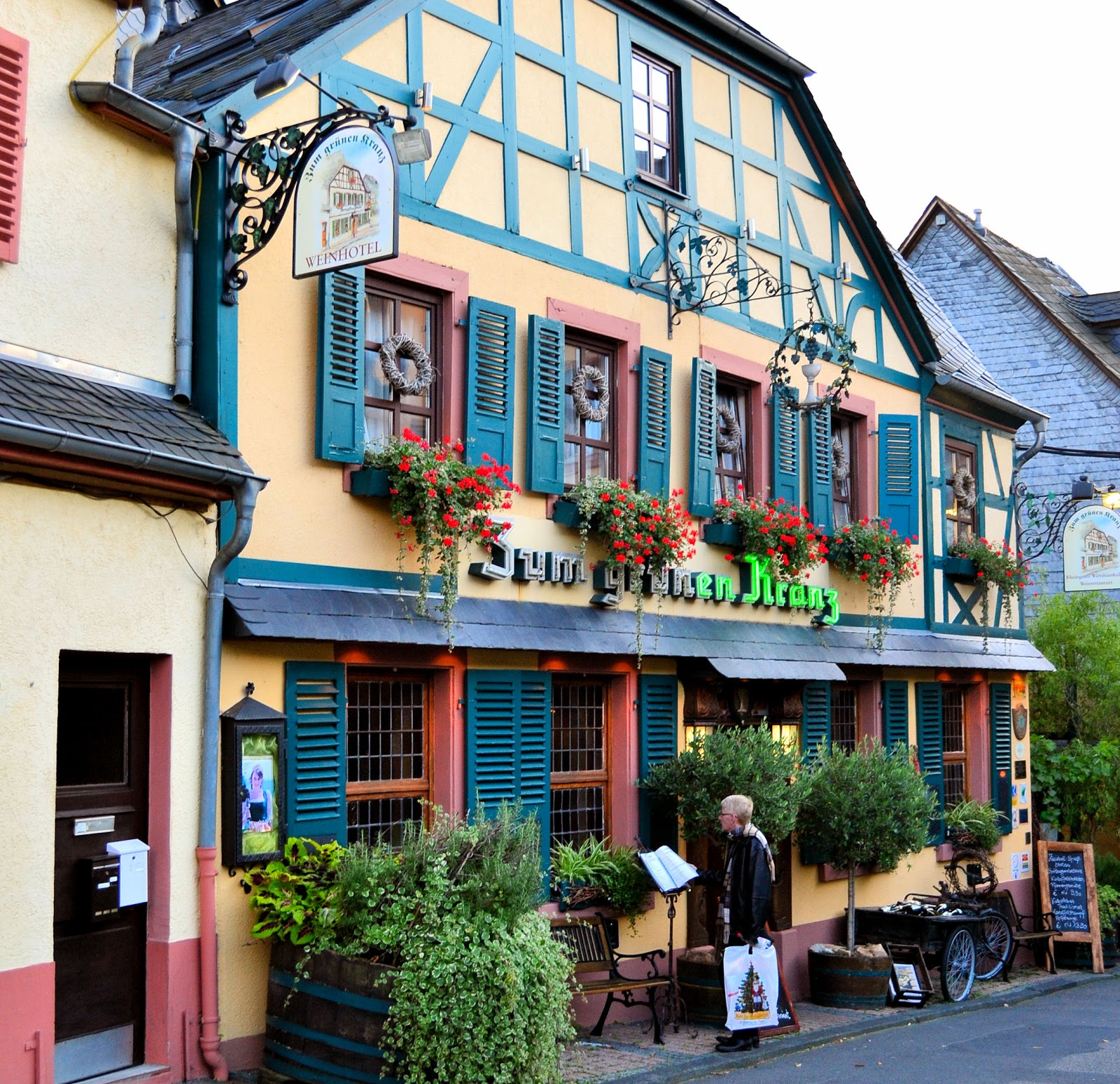 The charming family-run Hotel Zum grünen Kranz in Rüdesheim, Germany, dates back to 1826.