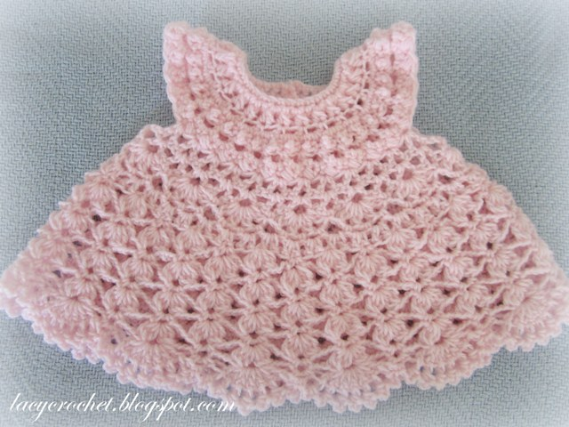 Lacy Crochet Plumeria Baby Dress