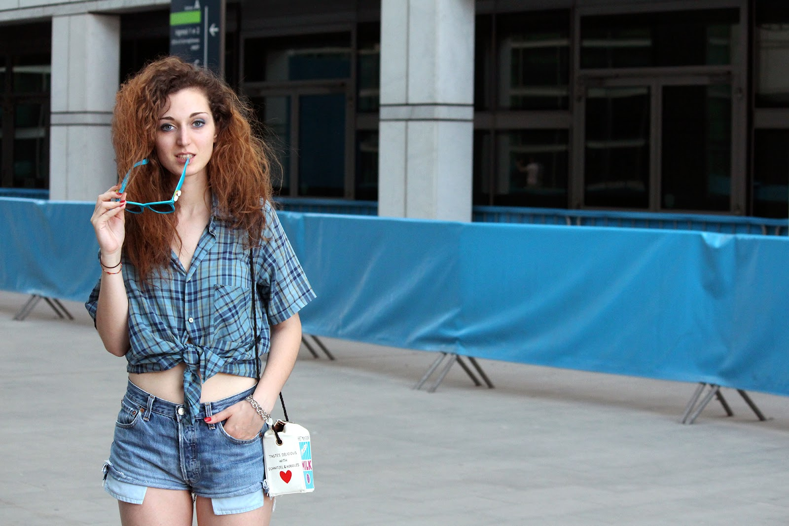 outfit fashion blogger shirt tartan short denim