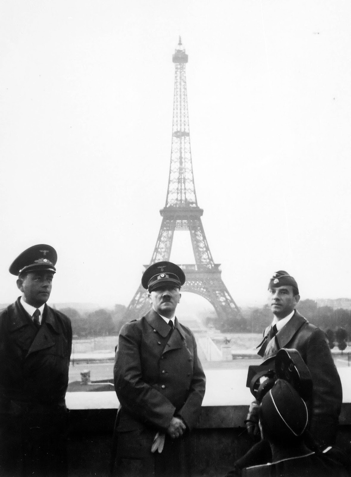 Adolf Hitler visits Paris with architect Albert Speer (left) and artist Arno Breker (right), June 23, 1940.