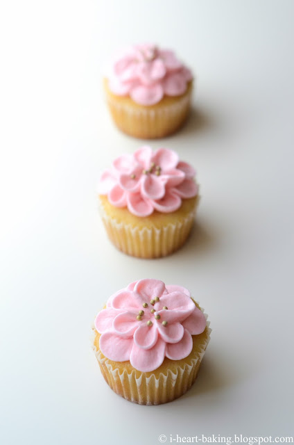 I Heart Baking Pink Flower Cupcakes For Baby S First