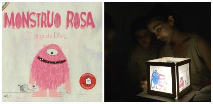 cuentos infantiles imprescindibles con actividades, juegos o manualidades lámpara cuentacuentos mosntruo rosa