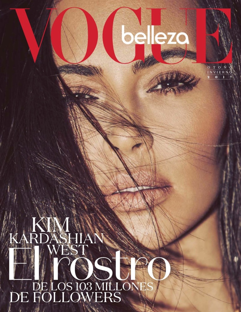 Kim Kardashian on Vogue Mexico Cover Page for Fall Beauty Looks