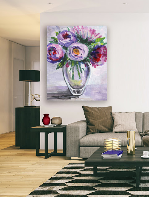 Painting of Flowers in Impressionism Style for home decor Artist Irina Sztukowski
