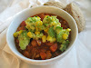 Peanut and Cashew Pinto Chili with Corn and Avocado Salsa