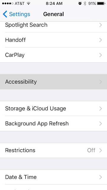 iOS 10 - Settings App - General - Accessibility option