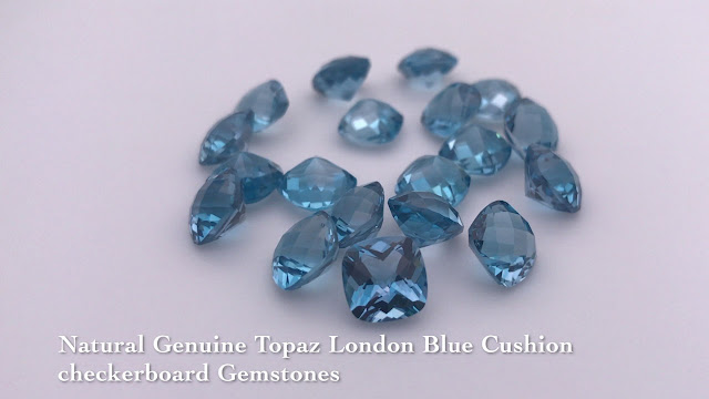 Natural-Genuine-Topaz-London-Blue-Cushion-checkerboard-Gemstones-wholesale