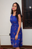 Pallavi Dora Actress in Sleeveless Blue Short dress at Prema Entha Madhuram Priyuraalu Antha Katinam teaser launch 066.jpg