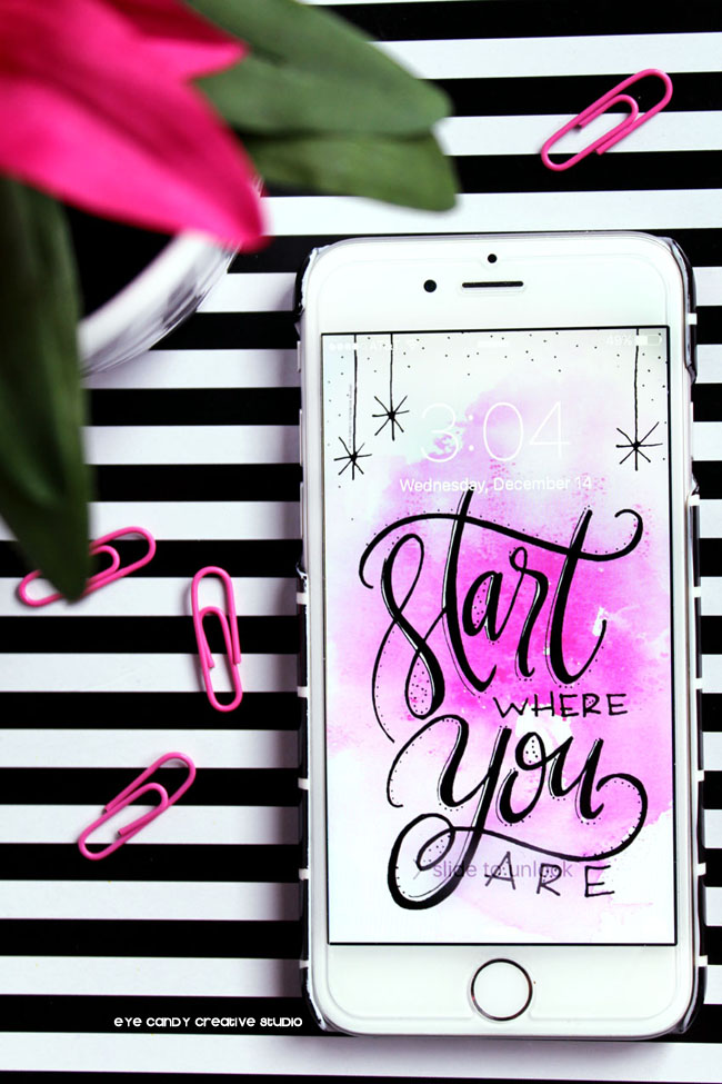 black & white stripe, start where you are, hand lettering, paperclips