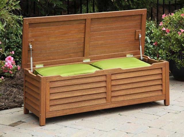 Outdoor Bench with Storage Waterproof