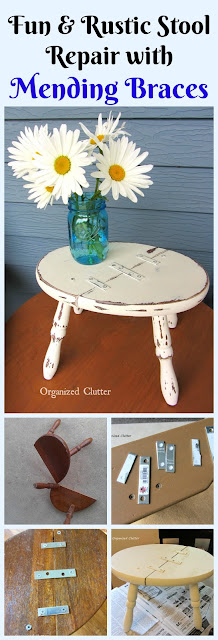 """Charming"" Rustic  Amateurish Fix For A Broken Stool www.organizedclutter.net"