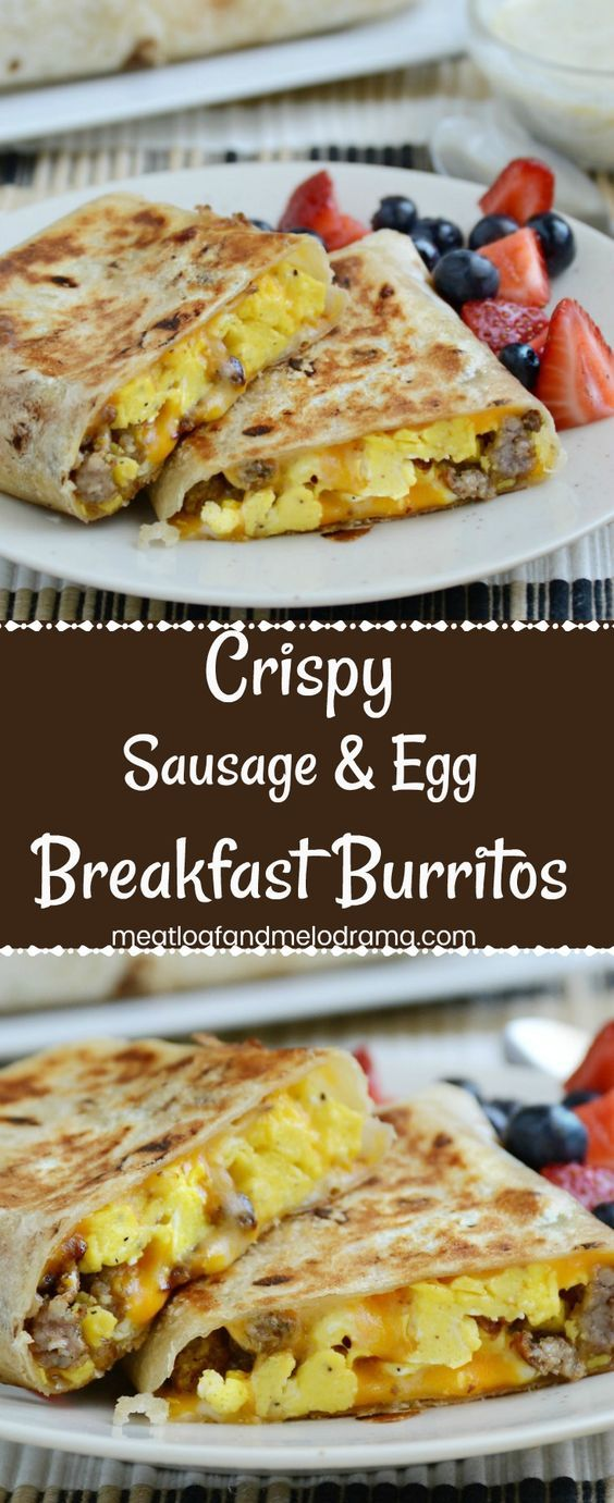Crispy Sausage Egg Breakfast Burritos #breakfast #american #crispy #sausage #egg #breakfast #burritos
