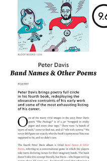 Book cover image for Band Names & Other Poems by Peter Davis, includes a colored line drawing of a woman on a turtle and man on a unicycle above a cropped faux review styled to look like Pitchfork magazine