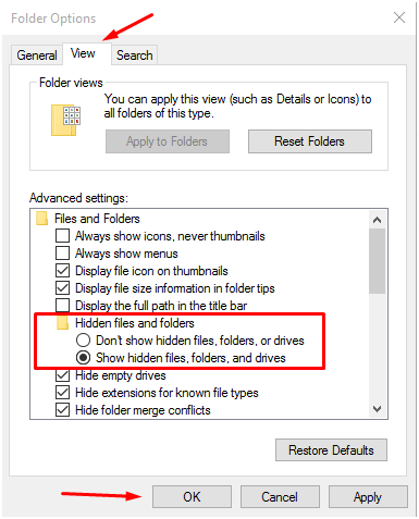 """show hidden files"" in windows 10 operating system"
