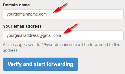 Email forwarding setup