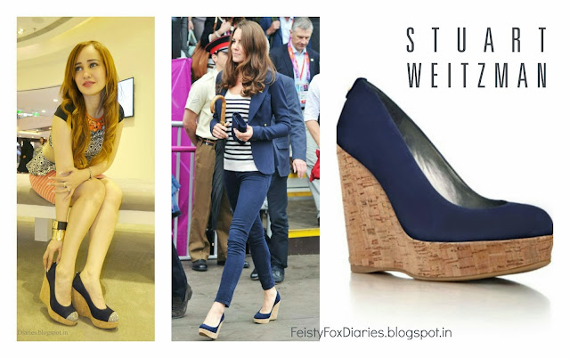 Stuart Weitzman Navy 'Corkswoon' Wedges
