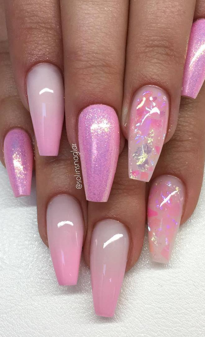 """Nude Pink"", Diamond, silverflakes och stenar"