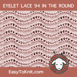 Old Shale Eyelet Lace, easy to knit in the round